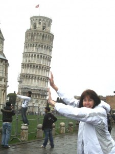 Sue D_Mum holding up Tower of Pizza
