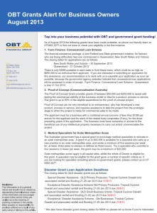 OBT's grant alert for Aug 2013 now available