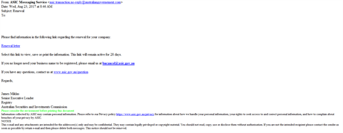 ASIC scam example email